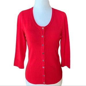 White House Black Market Red Cardigan 3/4 Sleeves